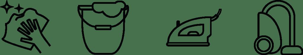 Plancha, aspirador, trapo de polvo y cubo de fregona que son servicios de limpieza hogar ofrecidos en limpiu app